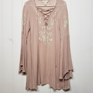 Lucky Women's Boho Long Sleeves Embroidered Tunic